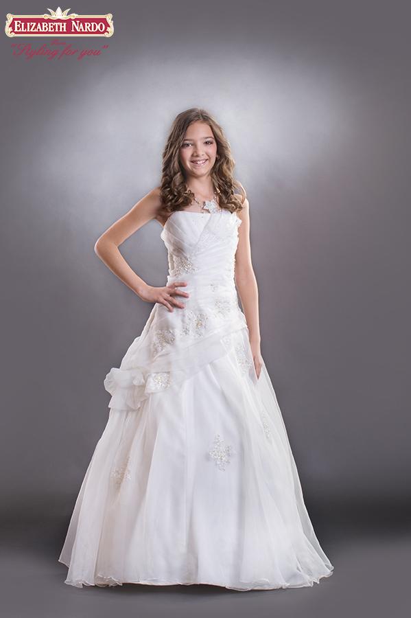 0e11da74ef Kislány koszorús ruhák - 15-608 koszorús kislány ruha:krém organza ...