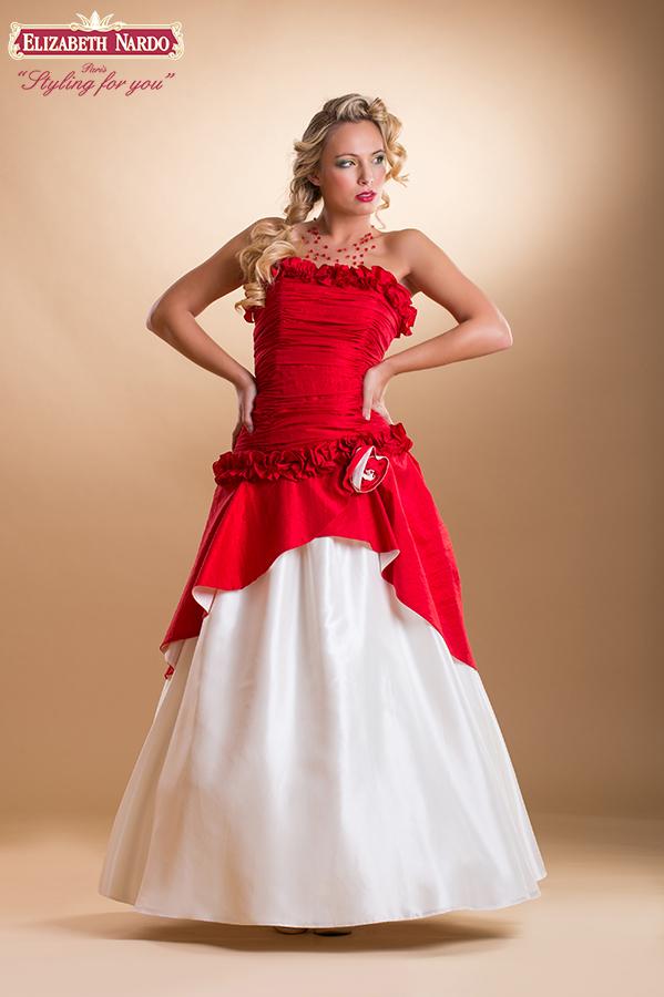 da7667359 Koktélruhák - 15-323 koszorúslány ruha:piros-krém taft (variációk) 2 ...