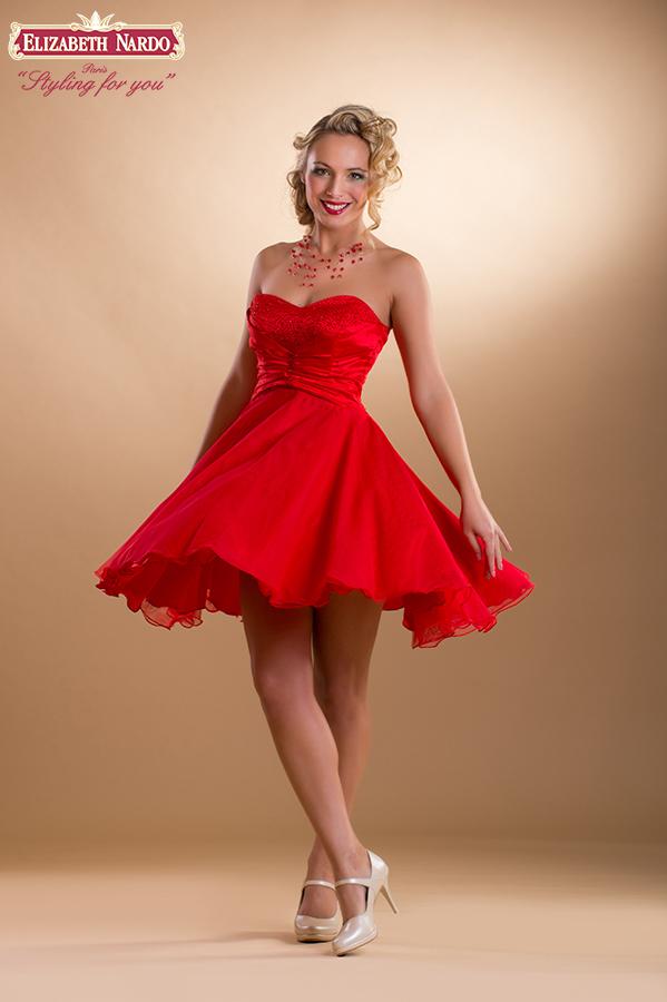 5a2ca8aa16 Koktélruhák - 15-101 menyecske ruha:piros szatén-tüll kombináció ...