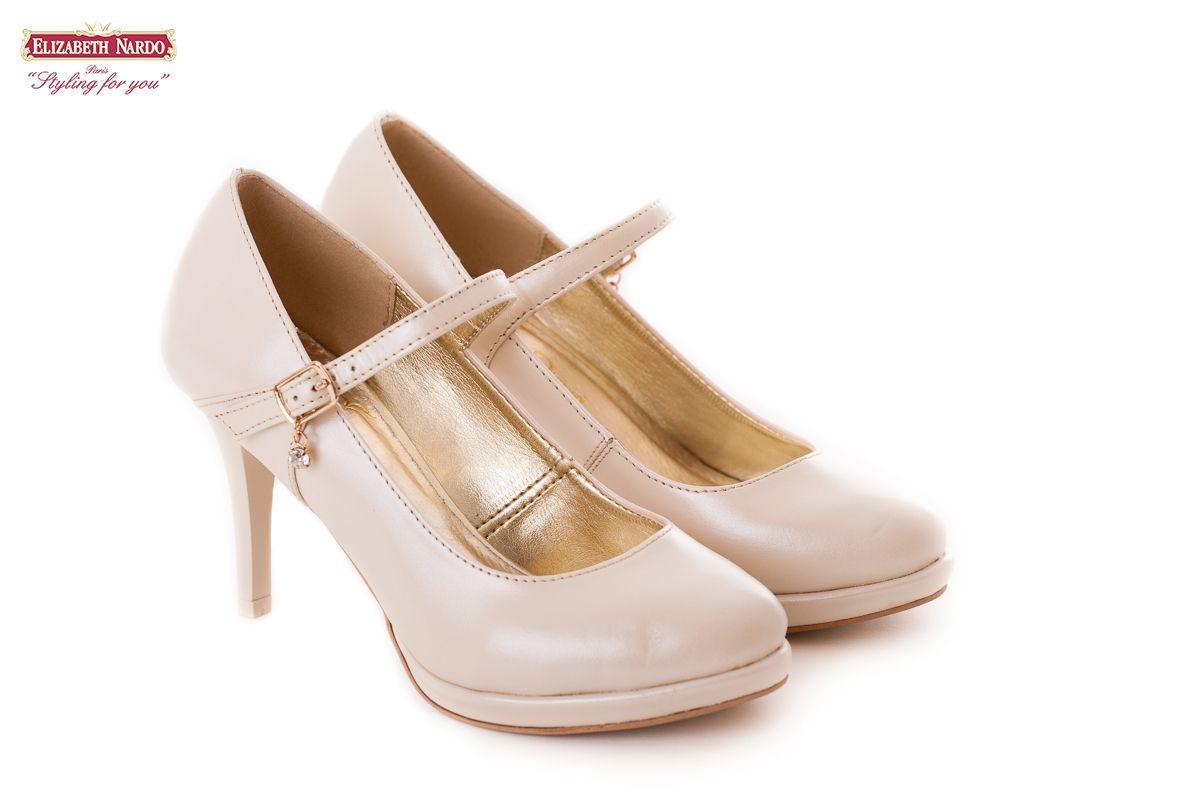 CIPŐK 17 904 Claudio Dessi krémszínű női bőrcipő 8 cm es