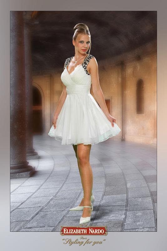Koktélruhák - 13-138 tört fehér muszlin koktélruha - Menyasszonyi ... 88bb02fbe5