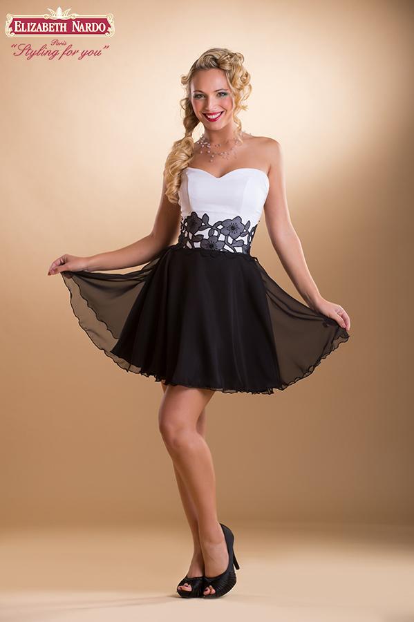 MODELL  15-334 koktél ruha fekete-fehér ... 3268fae166