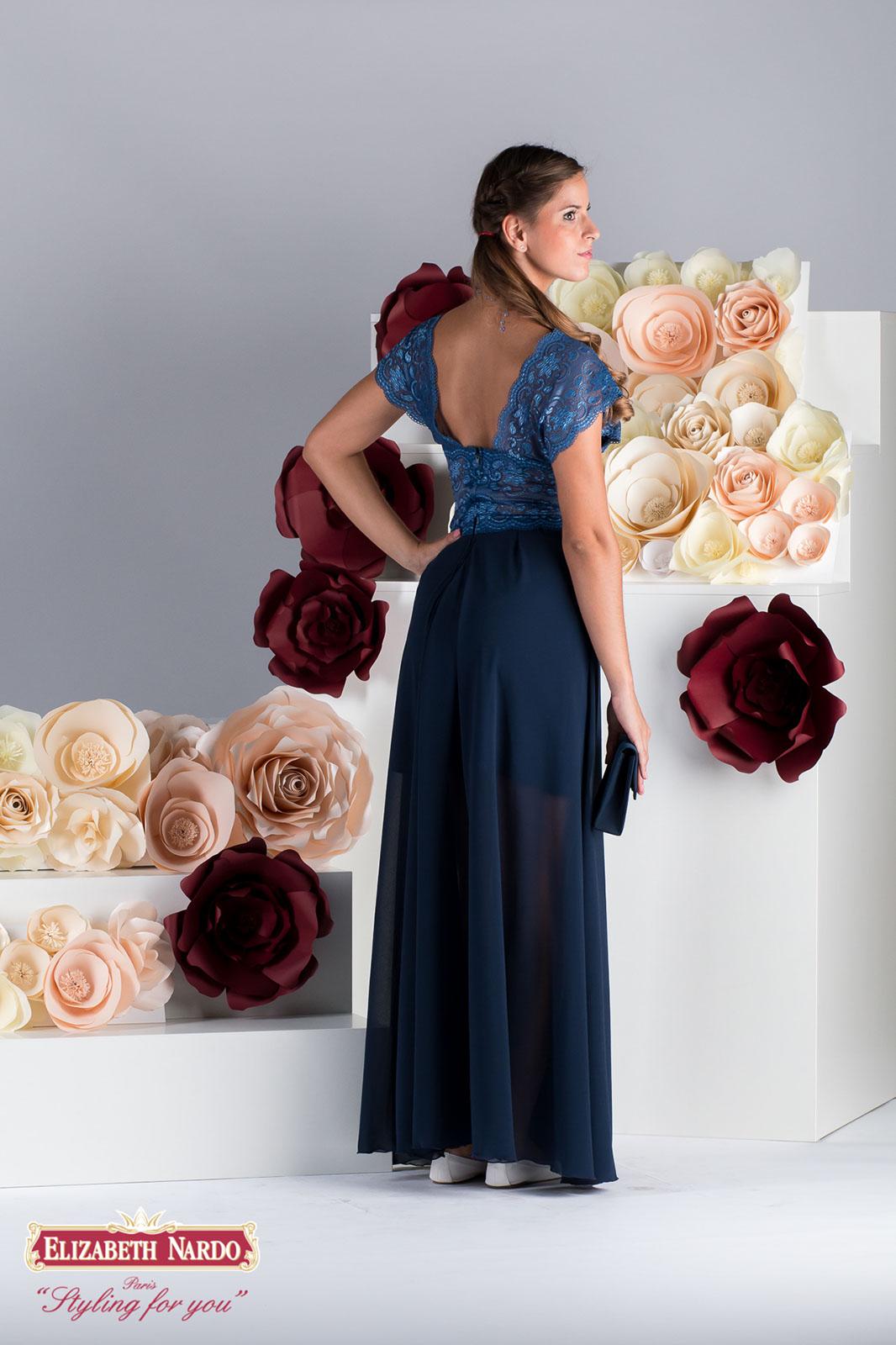 19 331 Selyemszatén hosszú lila szoknya, krémszínű csipke